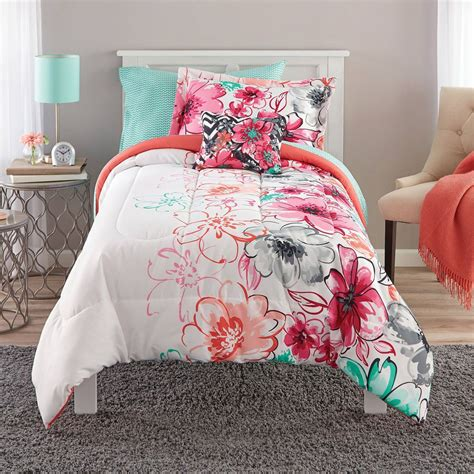 teen girls bedding twin mint green floral comforter set