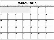 March 2018 Calendar Printable Template PDF UK USA Canada