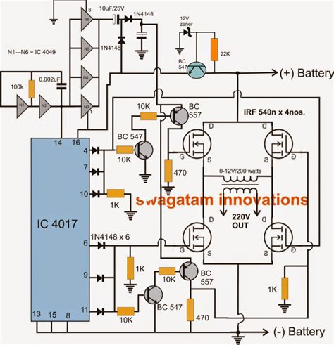 the following post describes an h bridge modified sine wave inverter circuit using four n