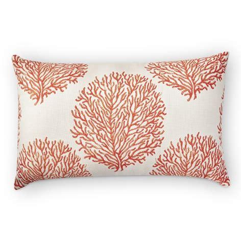 coral lumbar pillow sunbrella outdoor coral reef jacquard lumbar pillow melon