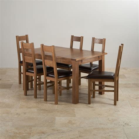 rushmere extending dining table  rustic oak  leather