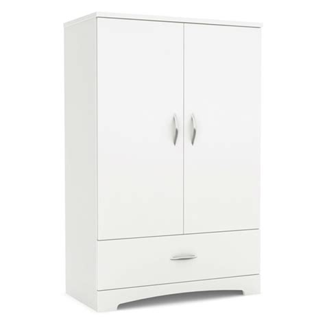 White Wardrobe Cabinet by 2 Door Armoire Wardrobe Cabinet With Bottom Storage Drawer