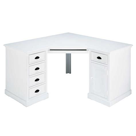 bureau d angle 1 porte 5 tiroirs en sapin blanc newport maisons du monde