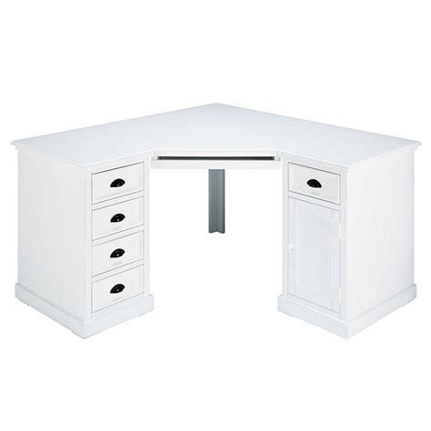 bureau d angle blanc bureau d 39 angle 1 porte 5 tiroirs en sapin blanc newport