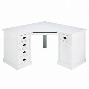 Bureau D Angle Design : bureau d 39 angle 1 porte 5 tiroirs en sapin blanc newport maisons du monde ~ Teatrodelosmanantiales.com Idées de Décoration