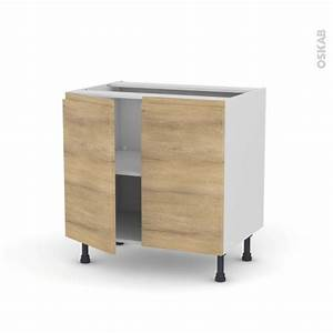 meuble de cuisine bas ipoma chene naturel 2 portes l80 x With meuble cuisine bas 120 cm 14 cuisine siena