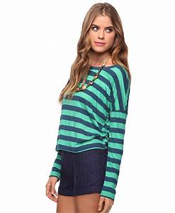 Forever 21 Long Sleeve Striped Tee in Green | Lyst