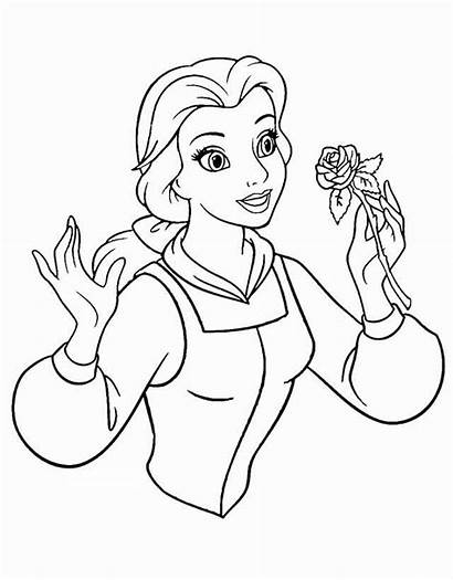 Beast Belle Coloring Beauty Pages Rose Disney