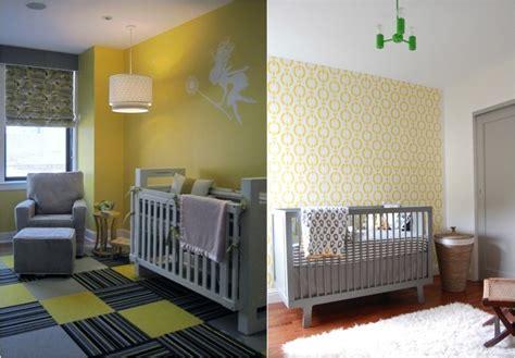 chambre bébé jaune et gris décoration chambre bébé en 30 idées créatives pour les murs