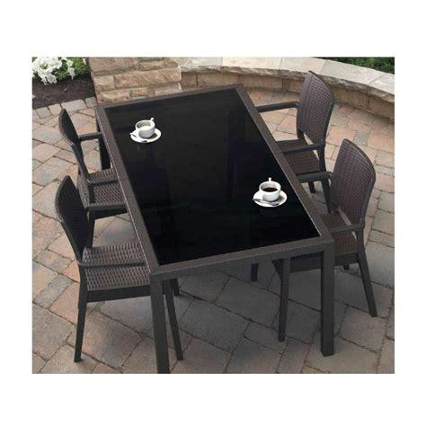 table de jardin rectangulaire en r 233 sine tress 233 e et verre