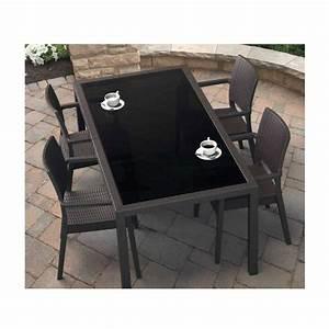 Table De Jardin Tressé : table de jardin rectangulaire en r sine tress e et verre ~ Dailycaller-alerts.com Idées de Décoration
