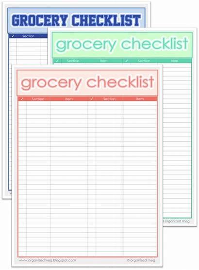 Grocery Printable Printables Organized Lists Shopping Meg