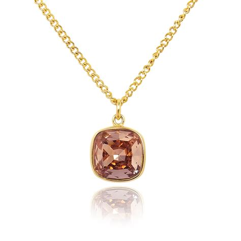 swarovski kette gold kette mit kristall swarovski 174 gold antik pink