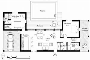 Plan maison en u de plain pied ooreka for Plan maison plain pied en u