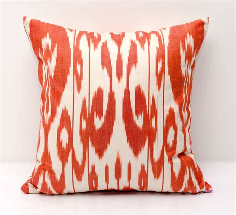 Orange Cusions by Orange White Ikat Cushion Innovative Home Solutions