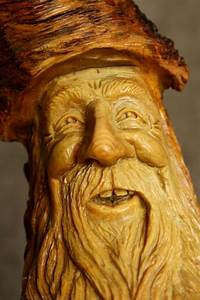 Wood Carving Wood Spirit, Valentines Day Gift Rustic Log