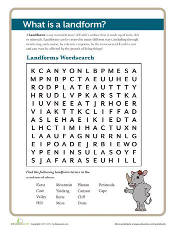 what is a landform worksheets earth science and word