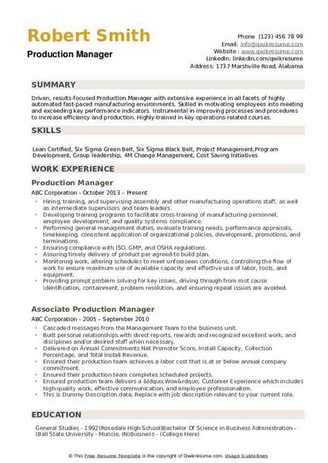 Just fill in your details, download. Production Manager Resume Samples | QwikResume