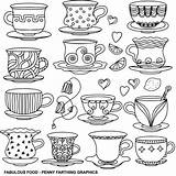 Coloring Pages Coffee Tea Adult Cup Cups Colouring Colour Foods Books Printable Cafe Teacups Sharpie Taza Drinks Cakes English Background sketch template