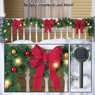 best outdoor battery or solar christmas garland lights decorated solar lighted garland from collections etc