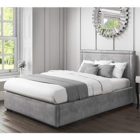 safina double ottoman bed stud detailing grey