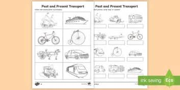 past and present transport worksheet activity sheet