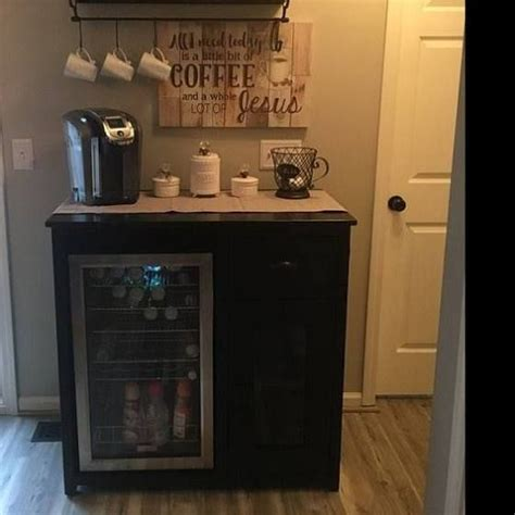 Custom outdoor bar with mini fridge storage cabinet and drawer mini refrigerator cabinet amoir in kitchen cabinet style this barn door cabinet holds a mini fridge and microwave! bar cabinets with mini fridge   Diy coffee bar, Sideboard with wine rack, Coffee bar home