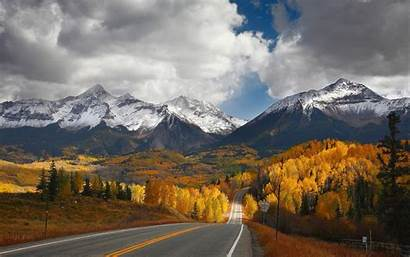 Mountain Road Fall Valley Landscape Nature Forest