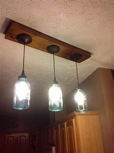 We, Replaced, Our, Track, Lighting, With, Blue, Ball, Jar, Pendant, Lights, I, Had, The, Idea, And, Hubby, Mad