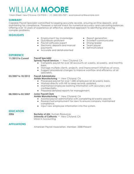 Hr Payroll Resume by Hr Specialist Resume Summary