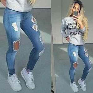 Jean Bleu Troué Femme : femmes trou lastique skinny taille haute pantalon slim crayon jeans pieds en 2019 jeans ~ Melissatoandfro.com Idées de Décoration