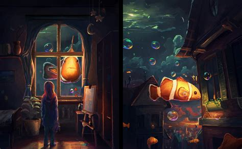 fantasy Art, Artwork, Clownfish, Fish, Window, Bubbles ...