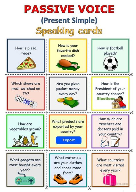 passive voice present simple speaking cards english
