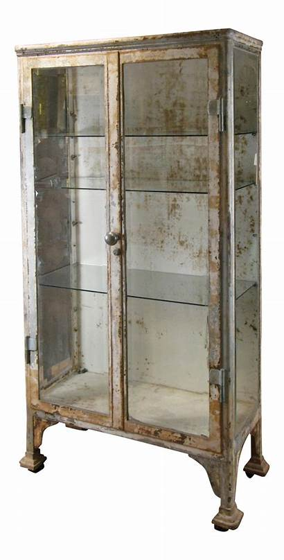 Cabinet Glass Apothecary Antique Iron Display Cast