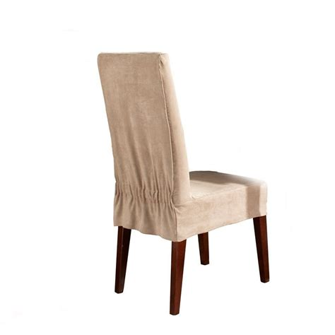 dining room chair slipcovers sure fit suede shorty dining room chair slipcover taupe
