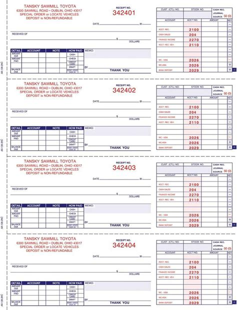cash receipt book w accting a 138nc imprinted 3 part