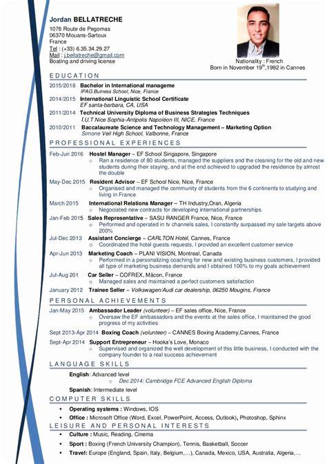 Curriculum Vitae Professionnel Modèle by Modele Cv Allemand Gratuit Fotolib