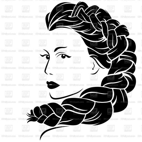 beautiful woman face  fluffy braided plait vector image  people  natareal  rfclipart