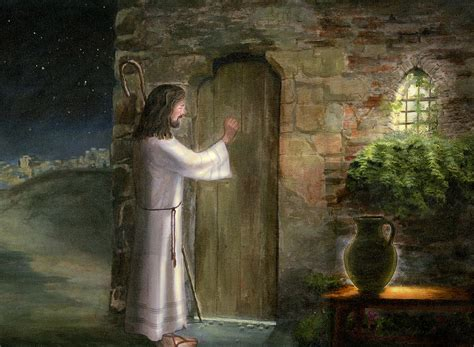 jesus knocking at the door jesus knocking on the door painting by cecilia brendel