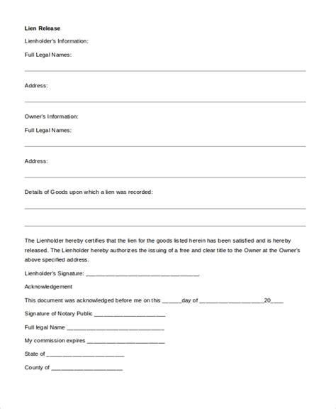 sample release  lien forms