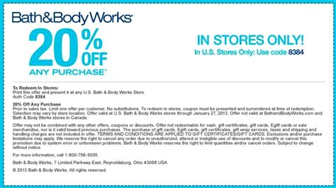 20 off coupon code bath and body works