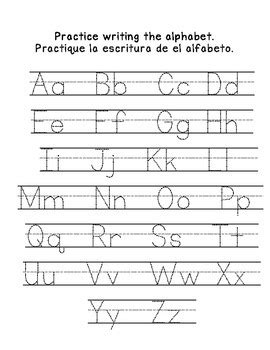 Name & Alphabet Writing Practice English And Spanish By Kindergarten Busy Bees