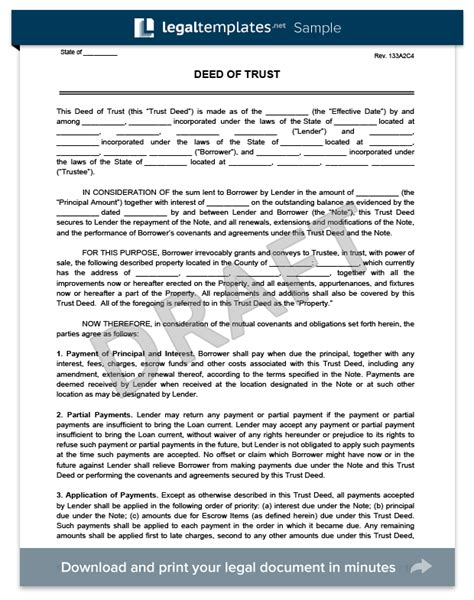 Trust Agreement Template Uk deed of trust form create download a free deed of