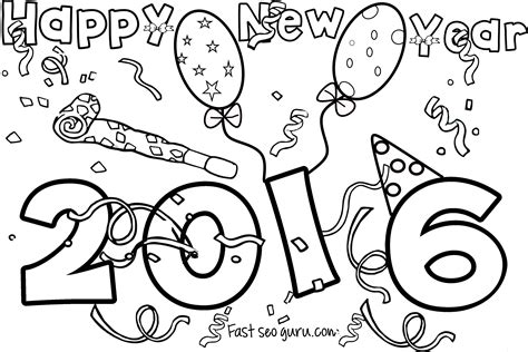 Weird Happy New Year Coloring Sheets Pages Free 8 8724