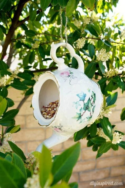 teacup bird feeder repurposing idea diy inspired