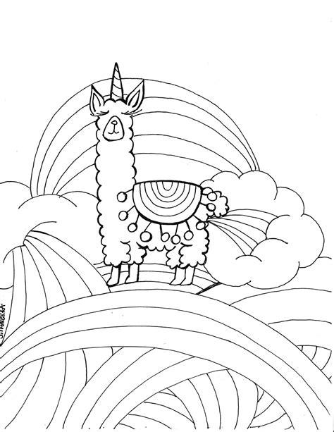 llamacorn coloring page  printable art  journalingart