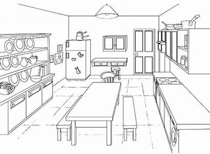 Colorear Kitchen Coloring Dibujos Cocinas Salle Cocineros
