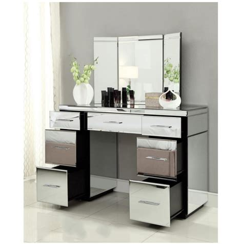 Vanity Table With Mirror And Drawers by Mirrored Dressing Table Console 7 Drawer Mirror