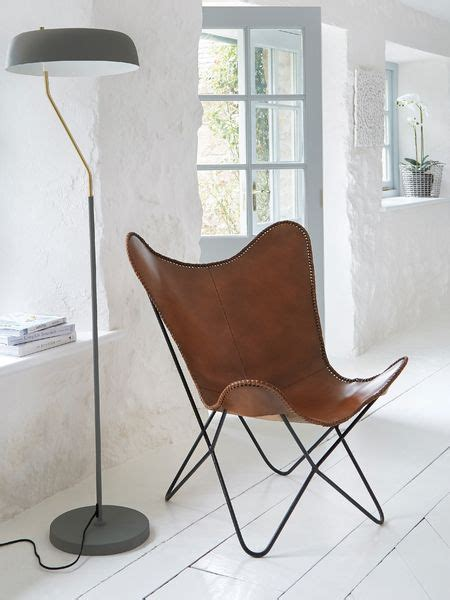 luxe leather butterfly chair brown