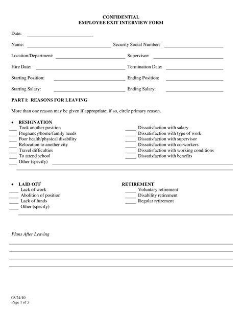employee exit interview form   create  employee